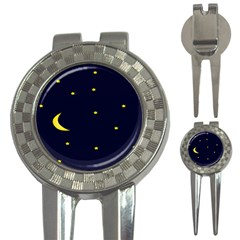 Moon Dark Night Blue Sky Full Stars Light Yellow 3 In 1 Golf Divots by Alisyart