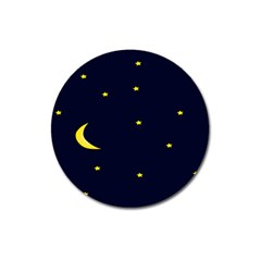 Moon Dark Night Blue Sky Full Stars Light Yellow Magnet 3  (round)