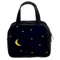 Moon Dark Night Blue Sky Full Stars Light Yellow Classic Handbags (2 Sides) by Alisyart