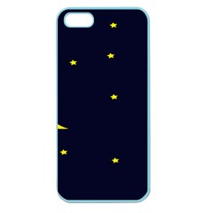 Moon Dark Night Blue Sky Full Stars Light Yellow Apple Seamless Iphone 5 Case (color) by Alisyart