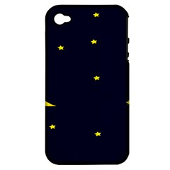 Moon Dark Night Blue Sky Full Stars Light Yellow Apple Iphone 4/4s Hardshell Case (pc+silicone) by Alisyart