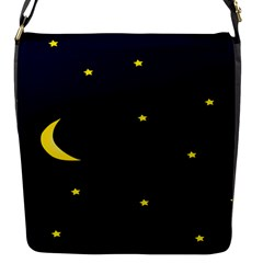 Moon Dark Night Blue Sky Full Stars Light Yellow Flap Messenger Bag (s)