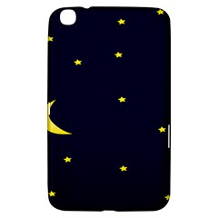 Moon Dark Night Blue Sky Full Stars Light Yellow Samsung Galaxy Tab 3 (8 ) T3100 Hardshell Case  by Alisyart