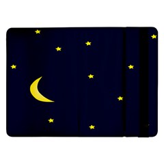 Moon Dark Night Blue Sky Full Stars Light Yellow Samsung Galaxy Tab Pro 12 2  Flip Case by Alisyart