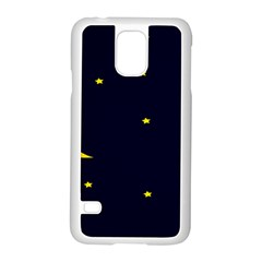 Moon Dark Night Blue Sky Full Stars Light Yellow Samsung Galaxy S5 Case (white)