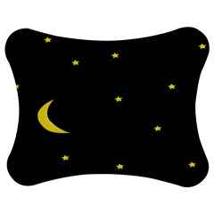 Moon Dark Night Blue Sky Full Stars Light Yellow Jigsaw Puzzle Photo Stand (bow) by Alisyart