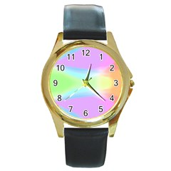 Abstract Background Colorful Round Gold Metal Watch by Simbadda