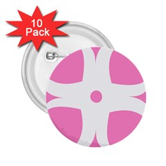 Love Heart Valentine Pink White Sweet 2 25  Buttons (10 Pack)