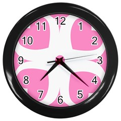 Love Heart Valentine Pink White Sweet Wall Clocks (black) by Alisyart
