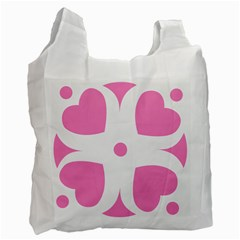 Love Heart Valentine Pink White Sweet Recycle Bag (two Side)  by Alisyart