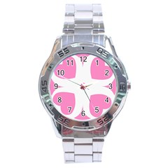 Love Heart Valentine Pink White Sweet Stainless Steel Analogue Watch