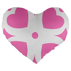 Love Heart Valentine Pink White Sweet Large 19  Premium Flano Heart Shape Cushions by Alisyart