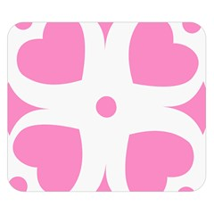 Love Heart Valentine Pink White Sweet Double Sided Flano Blanket (small)