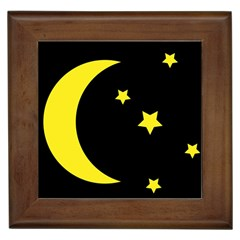 Moon Star Light Black Night Yellow Framed Tiles by Alisyart
