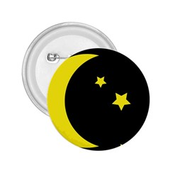 Moon Star Light Black Night Yellow 2 25  Buttons by Alisyart