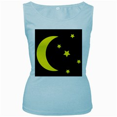 Moon Star Light Black Night Yellow Women s Baby Blue Tank Top by Alisyart