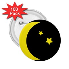 Moon Star Light Black Night Yellow 2 25  Buttons (100 Pack)  by Alisyart