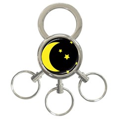 Moon Star Light Black Night Yellow 3 Ring Key Chains by Alisyart