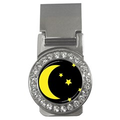 Moon Star Light Black Night Yellow Money Clips (cz)  by Alisyart