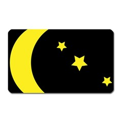 Moon Star Light Black Night Yellow Magnet (rectangular) by Alisyart