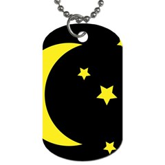 Moon Star Light Black Night Yellow Dog Tag (two Sides)