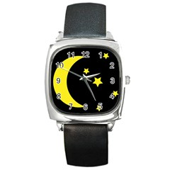 Moon Star Light Black Night Yellow Square Metal Watch by Alisyart
