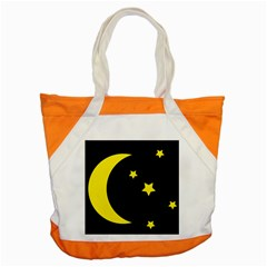 Moon Star Light Black Night Yellow Accent Tote Bag by Alisyart