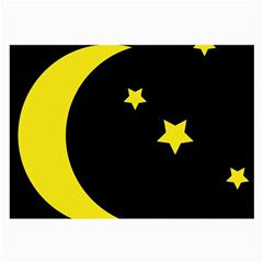 Moon Star Light Black Night Yellow Large Glasses Cloth (2 Side) by Alisyart