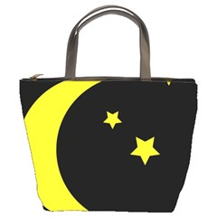Moon Star Light Black Night Yellow Bucket Bags by Alisyart