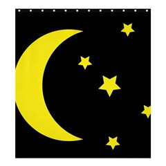 Moon Star Light Black Night Yellow Shower Curtain 66  X 72  (large)  by Alisyart