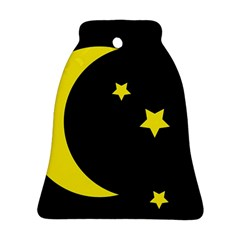 Moon Star Light Black Night Yellow Bell Ornament (two Sides) by Alisyart