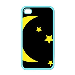 Moon Star Light Black Night Yellow Apple Iphone 4 Case (color) by Alisyart