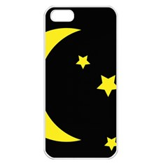 Moon Star Light Black Night Yellow Apple Iphone 5 Seamless Case (white)