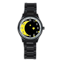 Moon Star Light Black Night Yellow Stainless Steel Round Watch by Alisyart