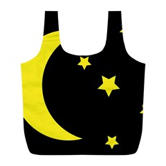 Moon Star Light Black Night Yellow Full Print Recycle Bags (l)