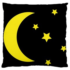 Moon Star Light Black Night Yellow Large Flano Cushion Case (two Sides)