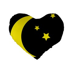 Moon Star Light Black Night Yellow Standard 16  Premium Flano Heart Shape Cushions