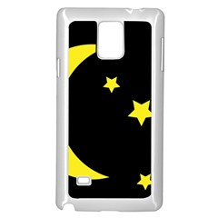 Moon Star Light Black Night Yellow Samsung Galaxy Note 4 Case (white)