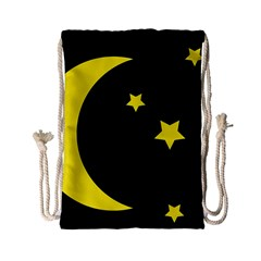 Moon Star Light Black Night Yellow Drawstring Bag (small)
