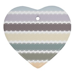 Muted Lace Ribbon Original Grey Purple Pink Wave Ornament (heart)