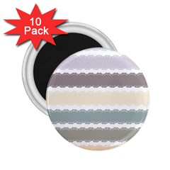 Muted Lace Ribbon Original Grey Purple Pink Wave 2 25  Magnets (10 Pack)
