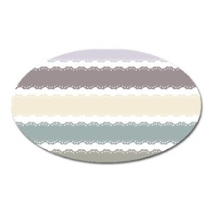 Muted Lace Ribbon Original Grey Purple Pink Wave Oval Magnet by Alisyart