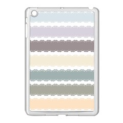 Muted Lace Ribbon Original Grey Purple Pink Wave Apple Ipad Mini Case (white) by Alisyart