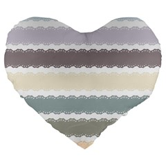Muted Lace Ribbon Original Grey Purple Pink Wave Large 19  Premium Heart Shape Cushions