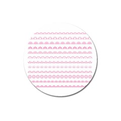 Pink Lace Borders Pink Floral Flower Love Heart Magnet 3  (round) by Alisyart
