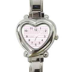 Pink Lace Borders Pink Floral Flower Love Heart Heart Italian Charm Watch