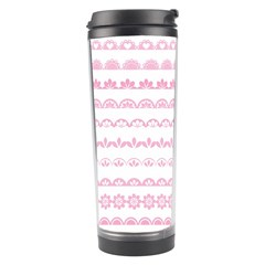 Pink Lace Borders Pink Floral Flower Love Heart Travel Tumbler by Alisyart