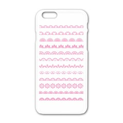 Pink Lace Borders Pink Floral Flower Love Heart Apple Iphone 6/6s White Enamel Case by Alisyart