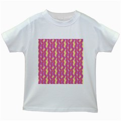 Pink Yelllow Line Light Purple Vertical Kids White T Shirts by Alisyart