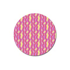 Pink Yelllow Line Light Purple Vertical Magnet 3  (round) by Alisyart